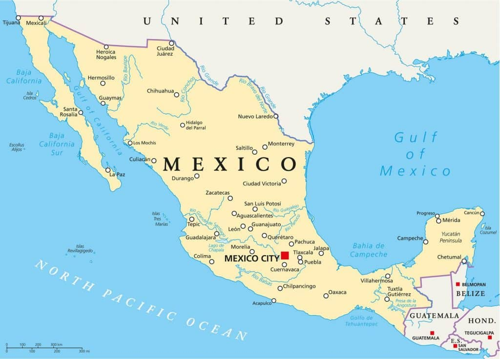 Carte / Map du Mexique