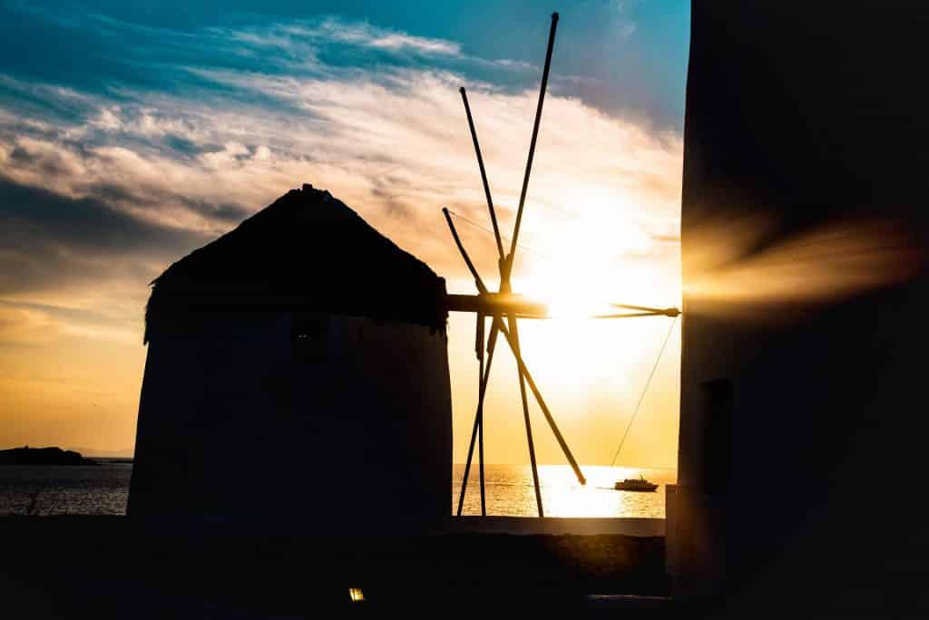 Grèce | Ville de Mykonos | Moulins à vent avec sunset