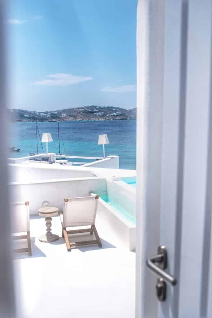 Katikies Hôtel Mykonos | Terrasse Suite avec piscine privée et vue mer